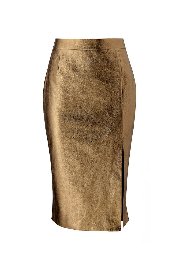 Copper office midi pencil skirt