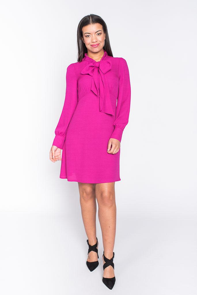 Pussybow hot pink chiffon dress