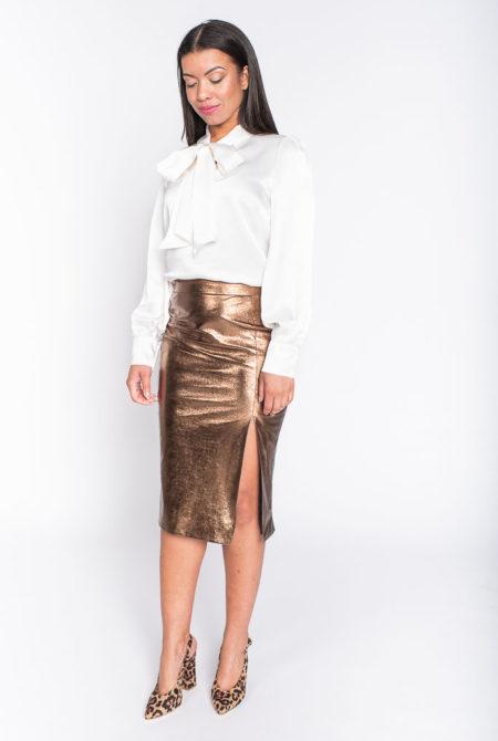 Ivory white silk top
