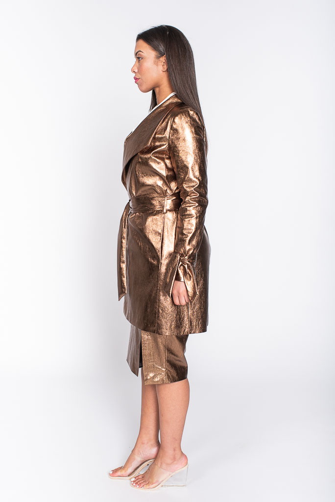 Metallic copper trench coat