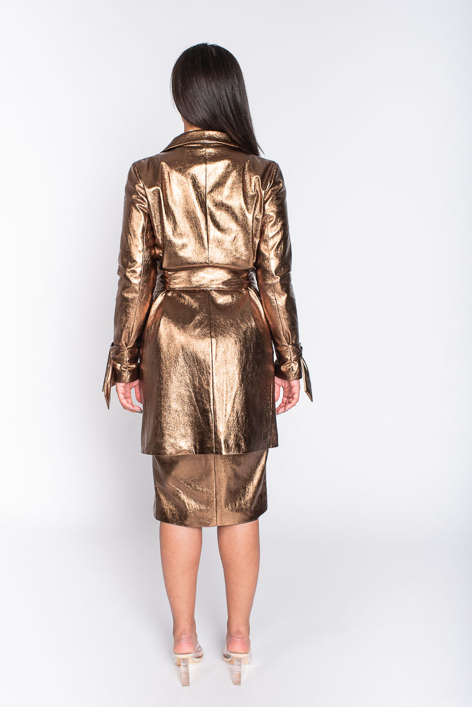 Metallic copper trench coatcopper trench coat