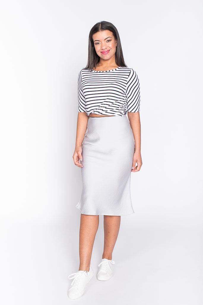 silver midi skirt