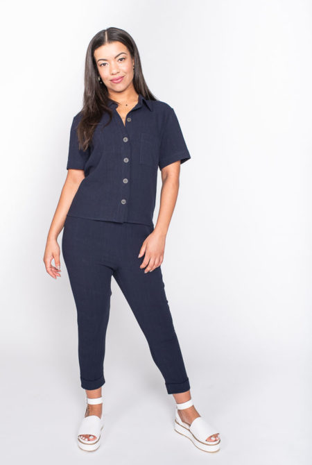 Navy linen jumpsuit
