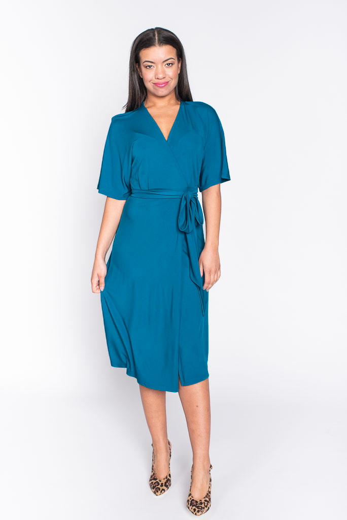 Georgia teal midi dress