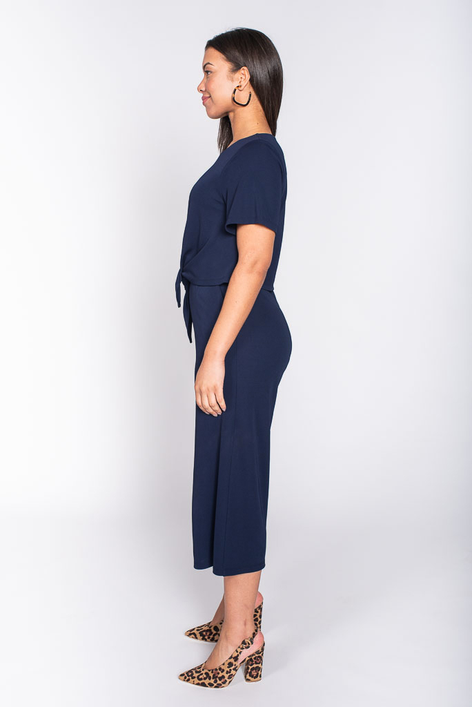 Navy jumpsuit side