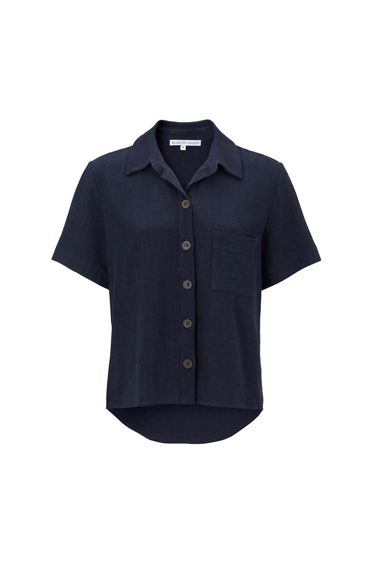 Navy linen top