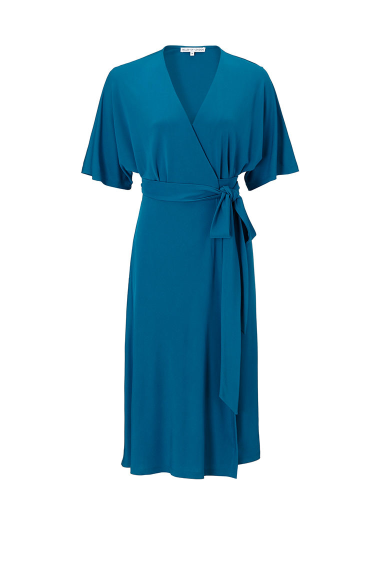Teal chiffon office dress