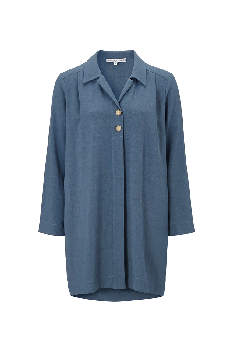 Comfortable washed blue linen shirt dress