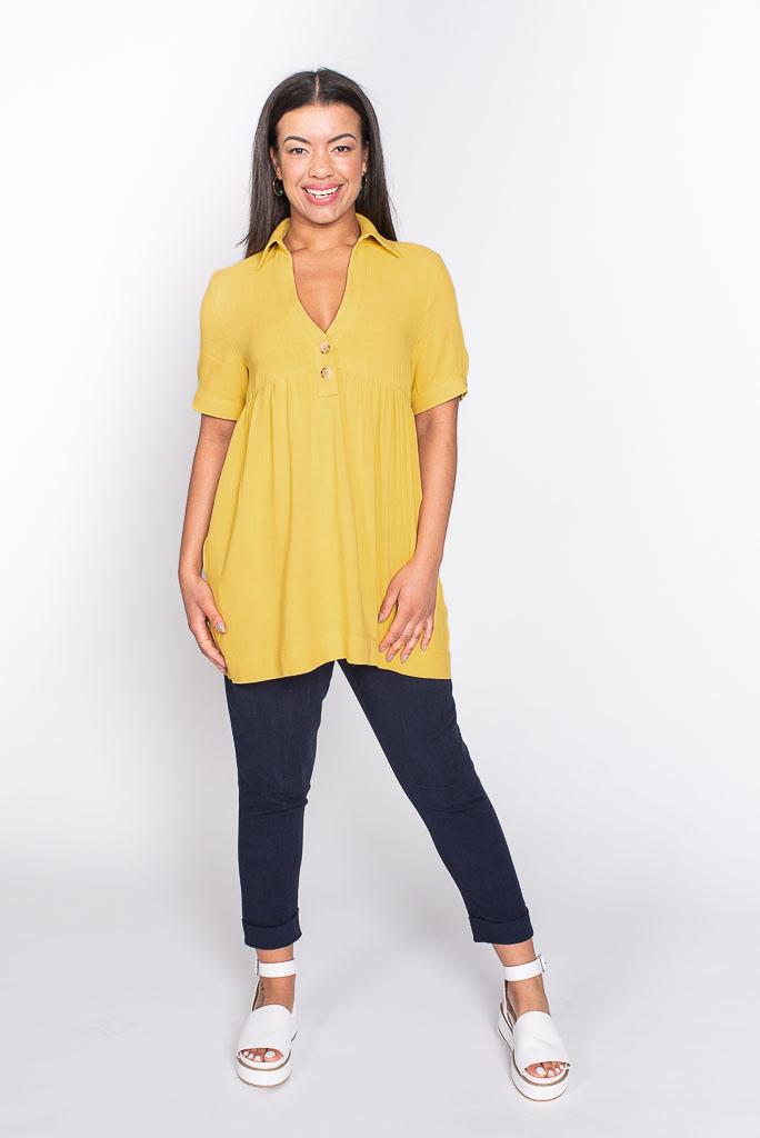 Yellow linen top