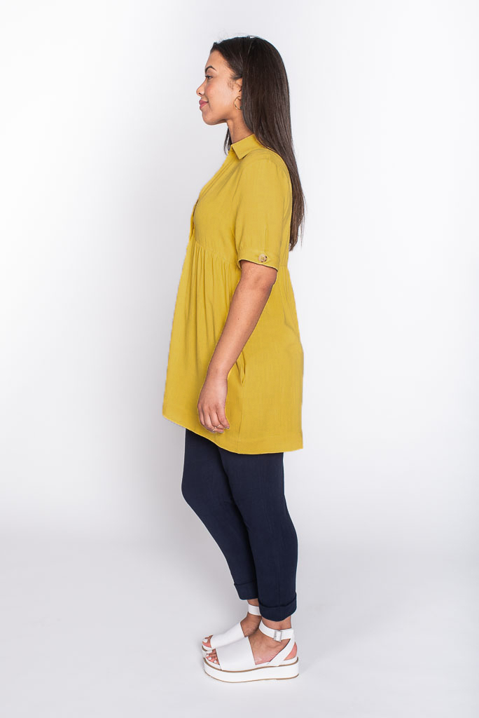 Yellow linen top side