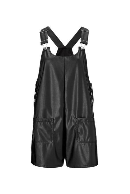 black faux leather jumpsuit