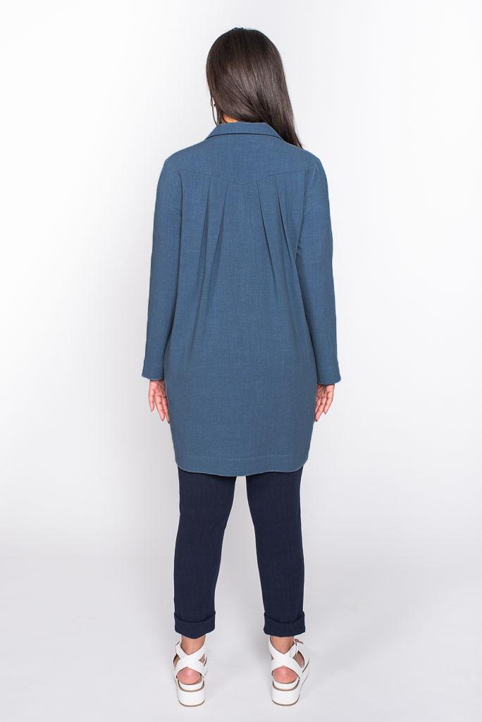 blue linen top back