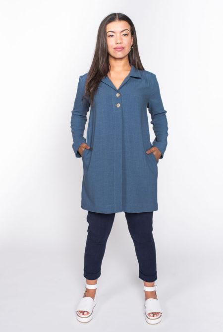 blue linen top front 2