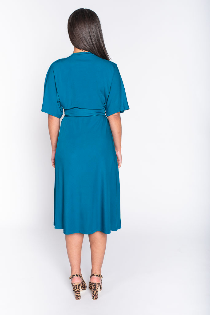 georgia teal midi dress back