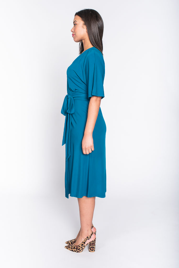 georgia teal midi dress side