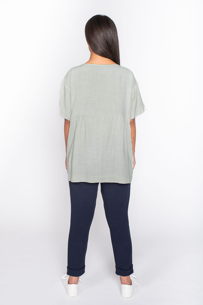 grey linen top back