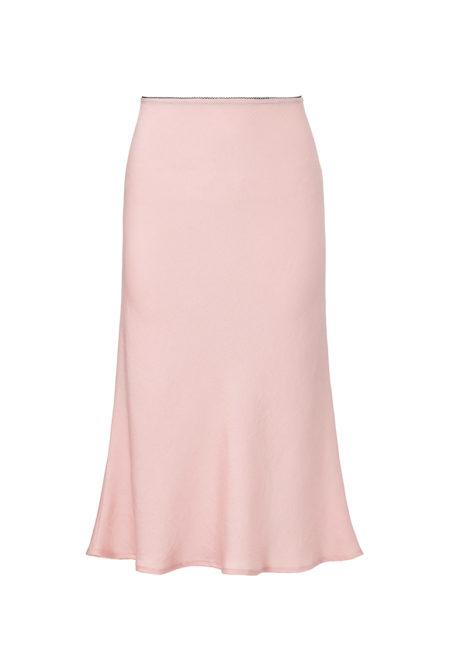 light pink silk midi skirt