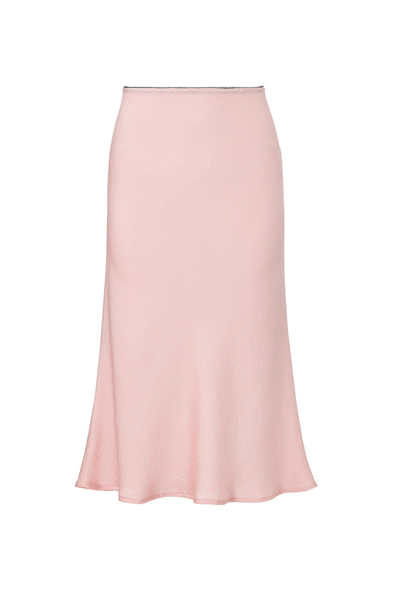 light pink silk midi skirt