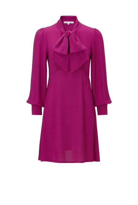 magenta chiffon office wear dress