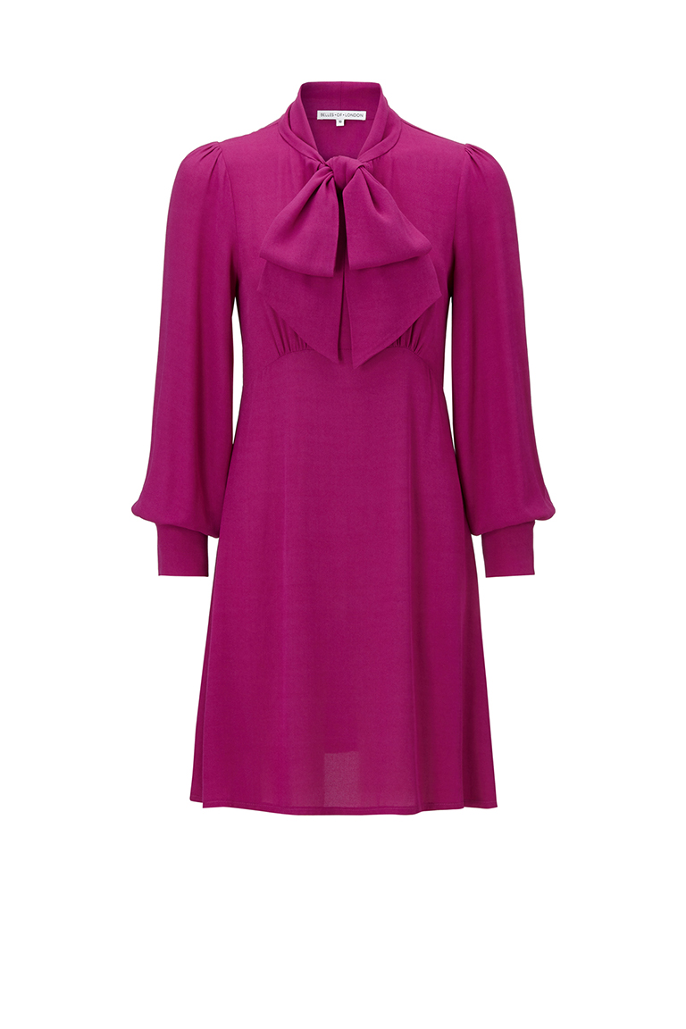 magenta chiffon office wear dress