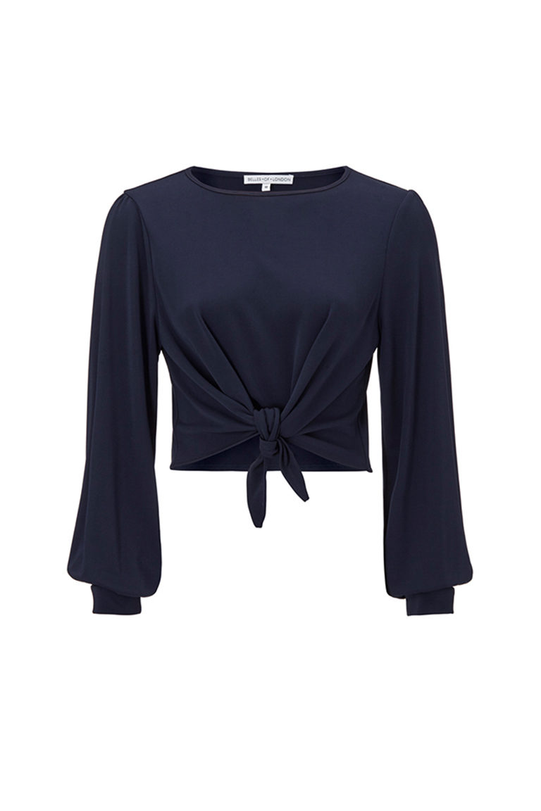 Navy chiffon copped top