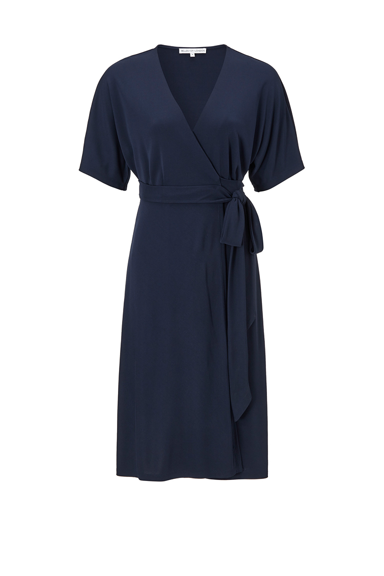 Navy chiffon office dress