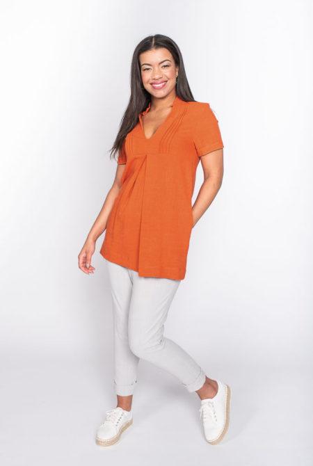 orange linen top