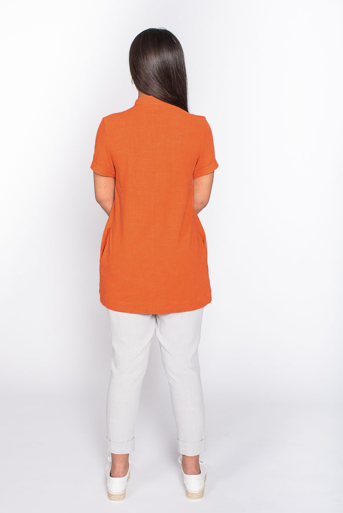 orange linen top back
