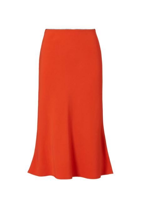 orange silk midi skirt