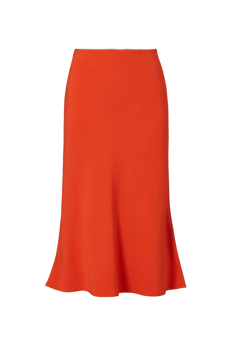 orange silk midi skirt