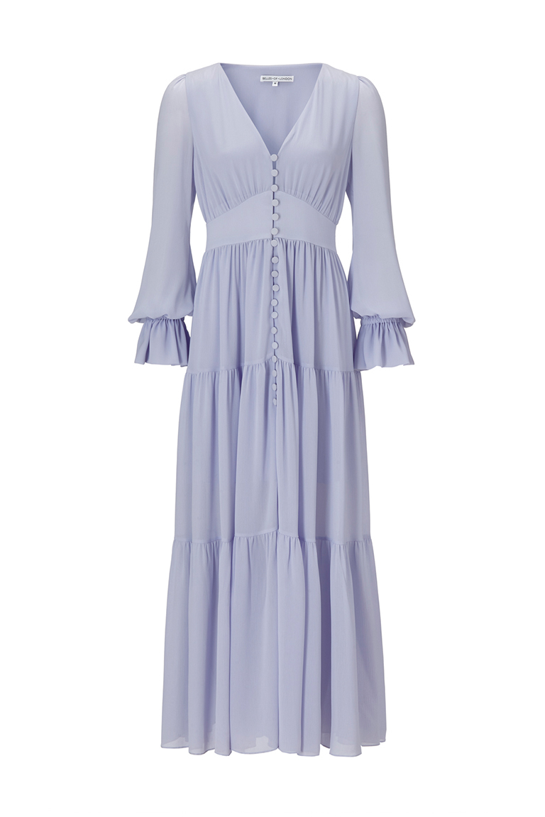 Spring lilac chiffon maxi dress