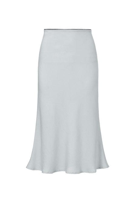 silver silk midi skirt