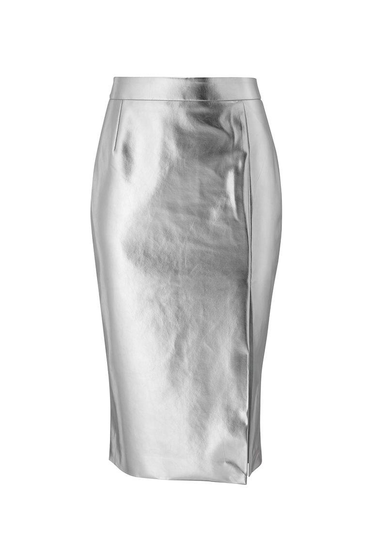 Metallic silver pencil skirt