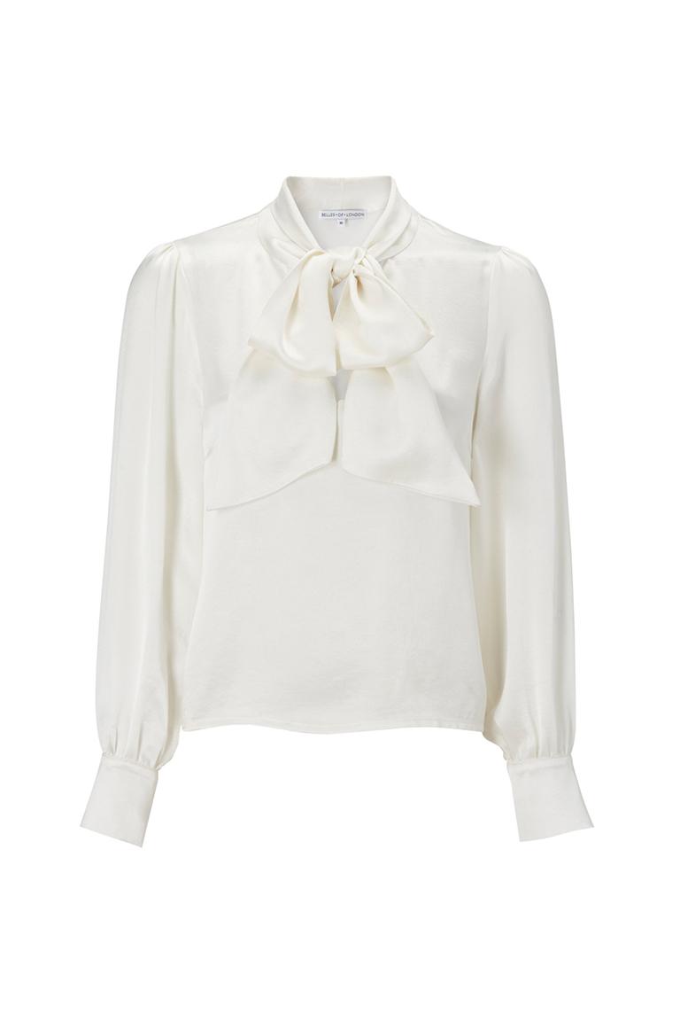 Ivory pussy bow shirt