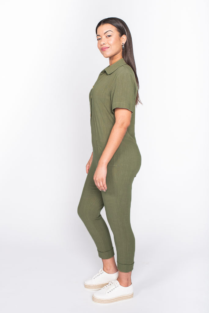 khaki boilersuit side