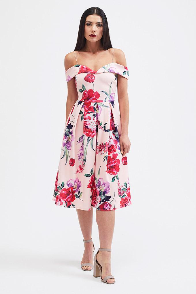 Garden floral print midi dress