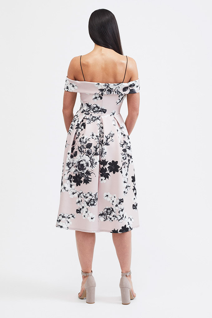 Monochrome floral midi dress back