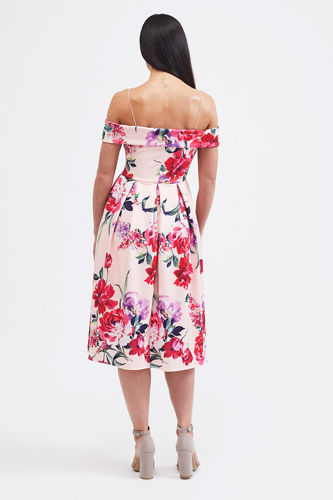Floral off shoulder dress pink back