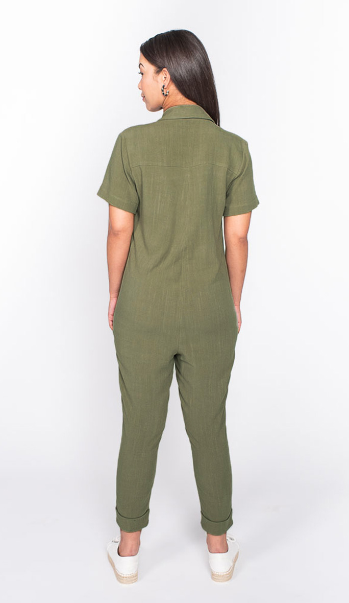 khaki boilersuit back