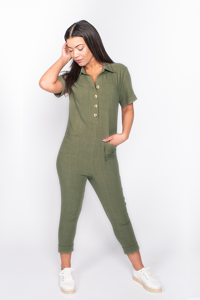 khaki boilersuit front