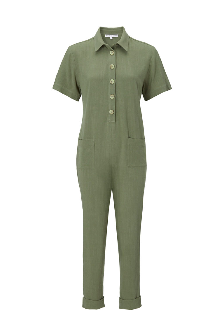 Comfortable baggy linen boilersuit in khaki