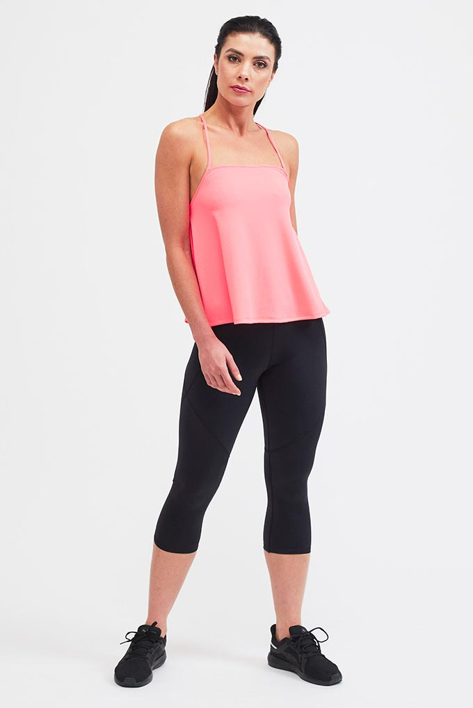 pink strappy sports top