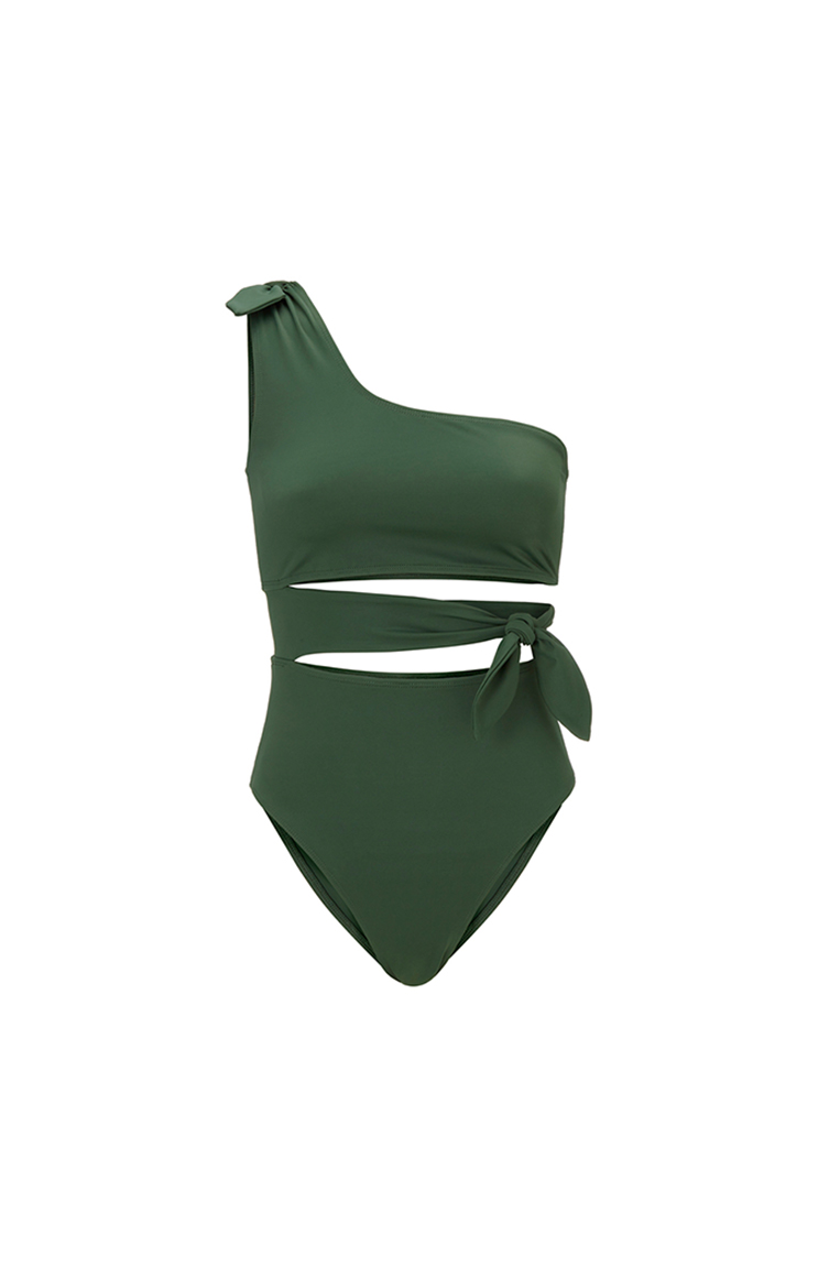 One shoulder khaki swimsuit with ribbons