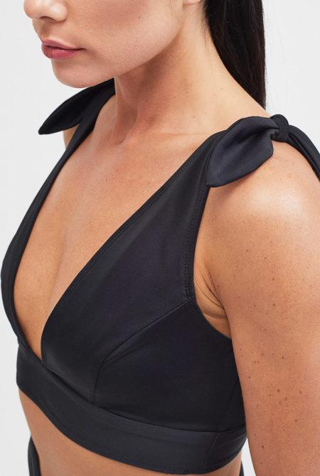 black bikini top close up
