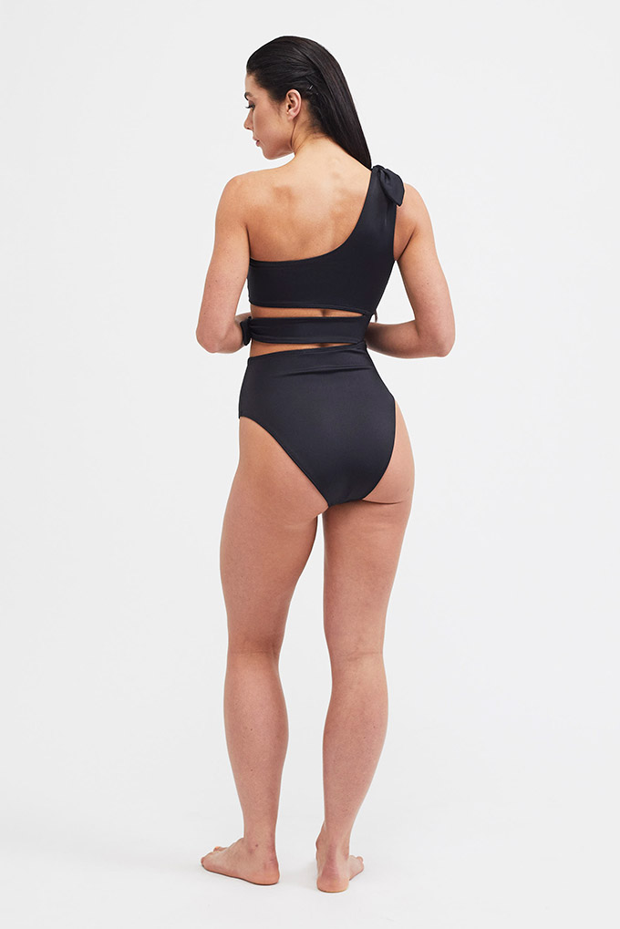 black one shoulder swimsuit back