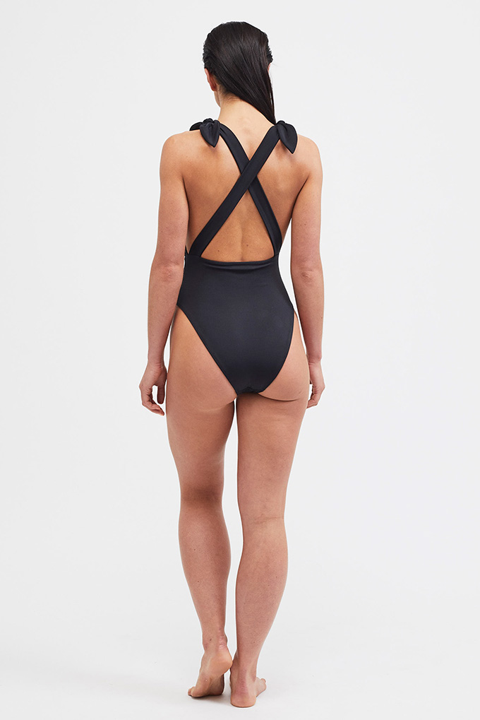 black plunge swimsuit back