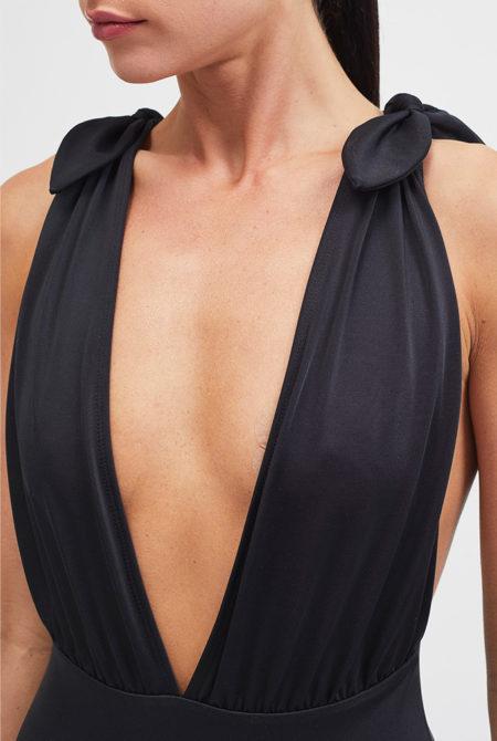 black plunge swimsuit close up