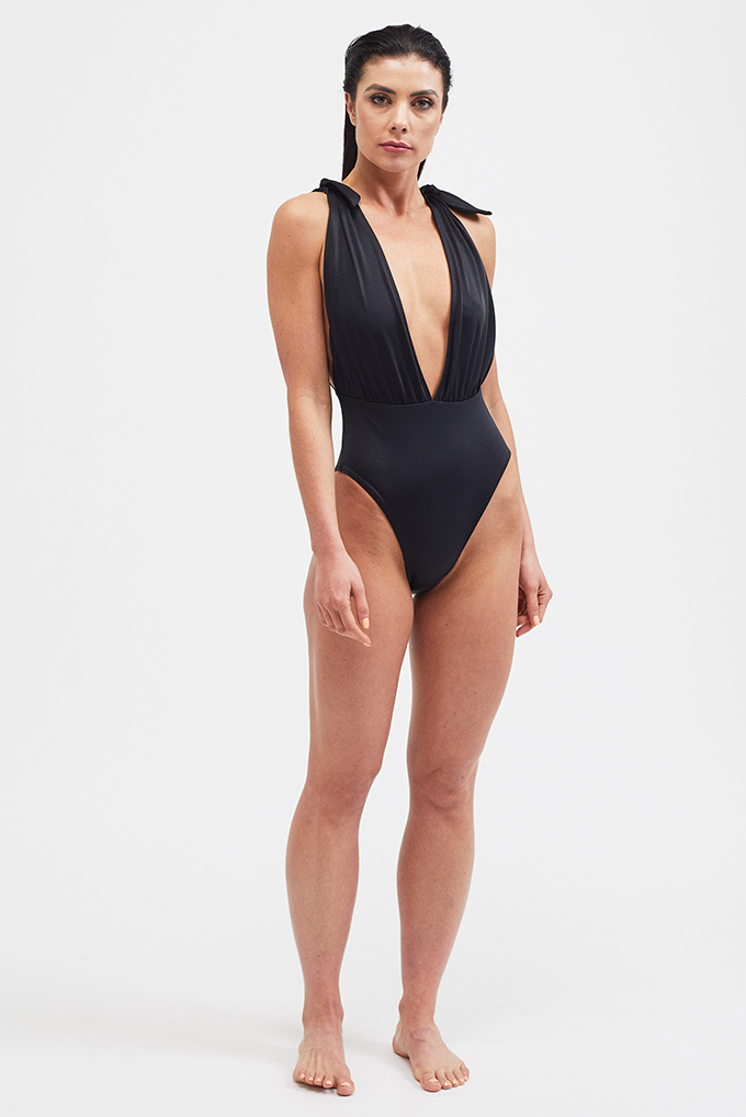 black plunge swimsuit