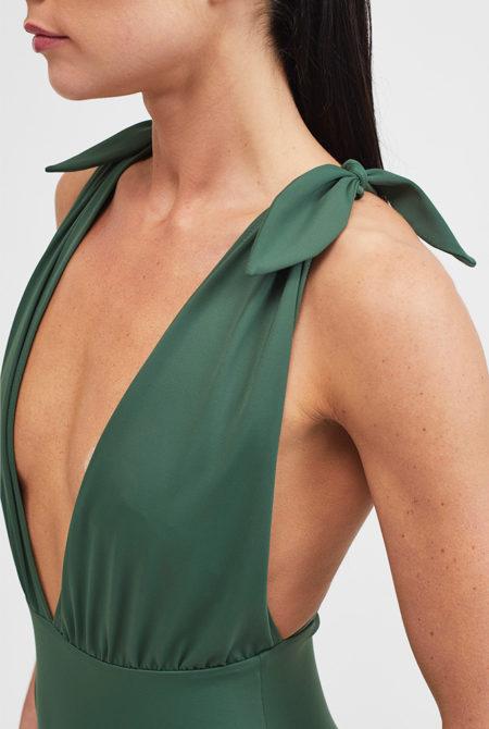 khaki plunge swimsuit close up