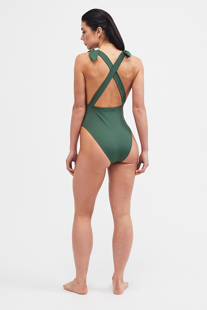 khaki plunge swimsuit back